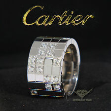 Cartier Lanieres 18k White Gold Diamond Ring Size 56 7.5 US