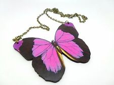 LARGE BEAUTIFUL STATEMENT PINK & BROWN WOODEN BUTTERFLY ANTIQUE BRONZE NECKLACE