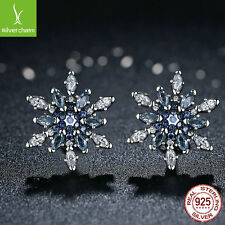 Authentic 925 Sterling Silver Crystalized Snowflake,Blue Pave CZ Stud Earring