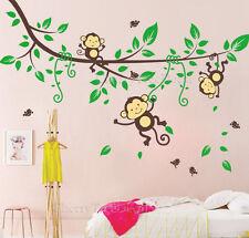 Jungle Monkey Tree Birds Animal Nursery Kids Children Wall Sticker Decor Decals