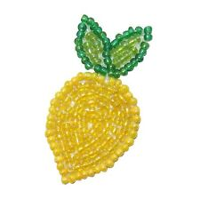 ID 9114 Lemon Sour Citrus Tree Fruit Food Plant Beaded Iron On Applique Patch