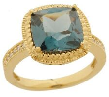 DIAMONIQUE 18K GOLD CLAD GREEN TEAL SIMULATED SAPPHIRE ROPE RING SIZE 7 QVC