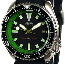 Vintage mens watch SEIKO diver 7002 mod w/OD GREEN hand set & GREEN Chapter Ring