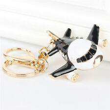 New Black Plane Airplane Aircraft Charm Pendant Crystal Purse Bag Key Chain Gift