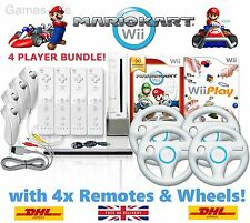 Wii Console MARIO KART 4 Player Bundle, 4 Remotes 4 Wheels 10 GAMES + GIFT!