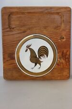 Vintage Square Brown Wood Serving Board Tray Round White Tile 22KT Gold Rooster