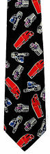 Red Trucks Mens Neck Tie Transportation Black Necktie Dump Road Trucker Gift New