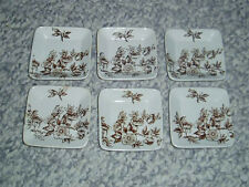 6 Antique Brown & White Ironstone Transferware Butter Pats Free U.S. Shipping