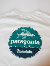 Patagonia hat patch Flying Fish Honolulu Hawaii T-shirt rare white Small