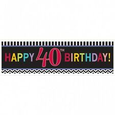 LARGE 40TH HAPPY BIRTHDAY BANNER SIGN CHEVRON 40 FORTY PARTY WALL DECORATION