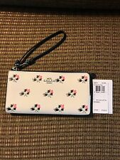 COACH Bramble Rose Printed Crossgrain Zippy Wallet Wristlet #52974