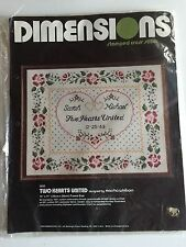 Vtg Dimensions FOLK ART ROSE WEDDING ANNOUNCEMENT Counted Cross Stitch Kit 14x11