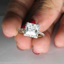 Real Solid 14K White Gold 2.35 cts Halo Brilliant Princess cut Engagement ring