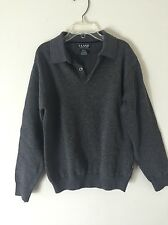 E-Land Grey Youth Boy Long Sleeve Henley Sweater Collared Neck sz 6X/7