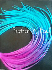 "Tie Dye Fade Feather Extensions Real Rooster Feathers In Bright Colors 7-9"" Long"