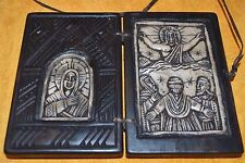 Antique Ethiopian Coptic Christian Wooden Altar Carved Stone Religious Icons