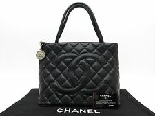 CHANEL Authentic CC CAVIAR Leather Hand BAG Purse Black Auth