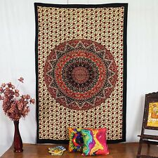 Mandala Indian Wall Decor Art Throw Cotton Boho Tapestry Twin Beige Wall Hanging
