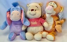 3 Disney Baby Winnie The Pooh Tigger Eeyore Plush with Rattles Stuffed NEW