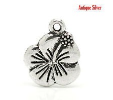 15 ANTIQUE SILVER LILY/HIBISCUS FLOWER CHARMS 15mm x12mm PENDANTS~BRACELET (69D)