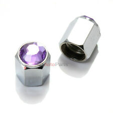 2 Bling Crystal Purple Diamond Tire/Wheel Stem Valve Caps for Motorcycle-Scooter