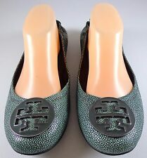 Tory Burch Reva Stingray Leather Ballet Flats Logo Detail Size 10 M