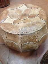 GENUINE HAND MADE REAL LEATHER POUF - LARGE LIGHT BROWN-style-4