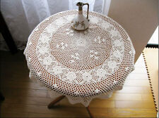 Pretty Vintage Style Hand Crochet Flower Cotton Beige Round Table Cloth