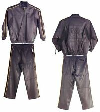 Davoucci Men Genuine Lambskin Leather Jogging Suit, M1531J Hershey 80743605404