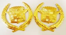 Cadillac GM OLD STYLE ONE PIECE WREATH & CREST EMBLEMS! ALL GOLD! PAIR !