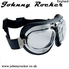 Johnny Rockers Speed Shop BK2 Aviator motorcycle goggles