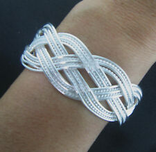 "925 Sterling Silver over Brass Plated Braided Cuff Bracelet 1"" 5.5 to 8"""