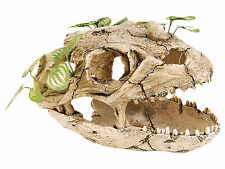 Skull with Silk Plants Fish Reptile Snake Gecko Cave Aquarium Vivarium Ornament