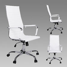 High Back White Modern Upholstered 360°Swivel Adjustable PU Leather Office Chair