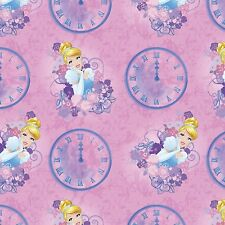 "Disney Princesses Cinderella Clocks Cotton Fabric Yardage 44"" Wide          I2"
