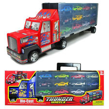 12 Car Truck Carrier Transporter with 12 Die Cast Cars Plus Carry Case Travel