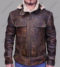 Mens Vintage Distressed Aviator Shearling Fur Hooded Real Leather WINTER Jacket