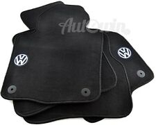Black Floor Mats for Volkswagen Passat B6, B7 with VW Emblem and Clips LHD Side