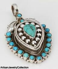 TURQUOISE & 925 STERLING SILVER GHAU PRAYER BOX PENDANT JEWELRY  H095