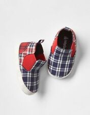 GAP Baby Boys Size 0-3 Months Red / Blue Plaid Sneakers Booties Boots Shoes