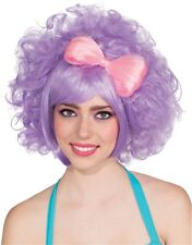 Womens 80s Pastel Purple Harajuku Anime Costume Cutie Doll Wig With Pink Bow