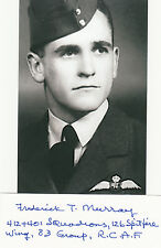 CANADIAN ACE Frederick Murray 5 V signed 3x5 CARD RCAF