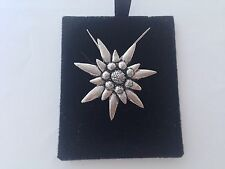 C1   Large Edelweiss  on a 925 sterling silver Necklace Handmade 30 inch chain