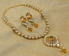 Traditional Wedding Gold Plated CZ Necklace Earrings Set Indian Women Jewelry