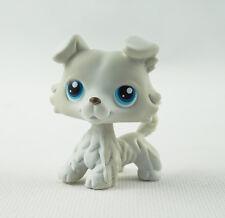 Littlest Pet Shop LPS Toy #363 Light Grey Collie Dog Blue Eyes Animals