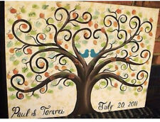 Wedding Thumbprint Tree Custom painted 11 x 14 stretched Canvas guest book