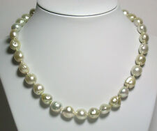 Champagne AAA 10-12mm South Sea saltwater pearl necklace & gold vermeil clasp