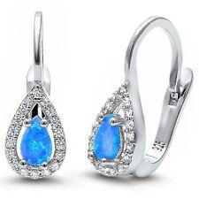 Blue Opal & Cz .925 Sterling Silver Earrings