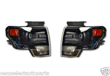 NEW OEM 2013 Ford F-150 BLACK HID Headlights - PAIR - Left + Right - Decontented