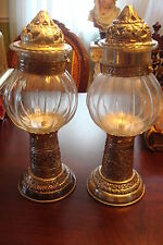 Hurricane Lamps glass and silverplate, made in India, very elaborated design